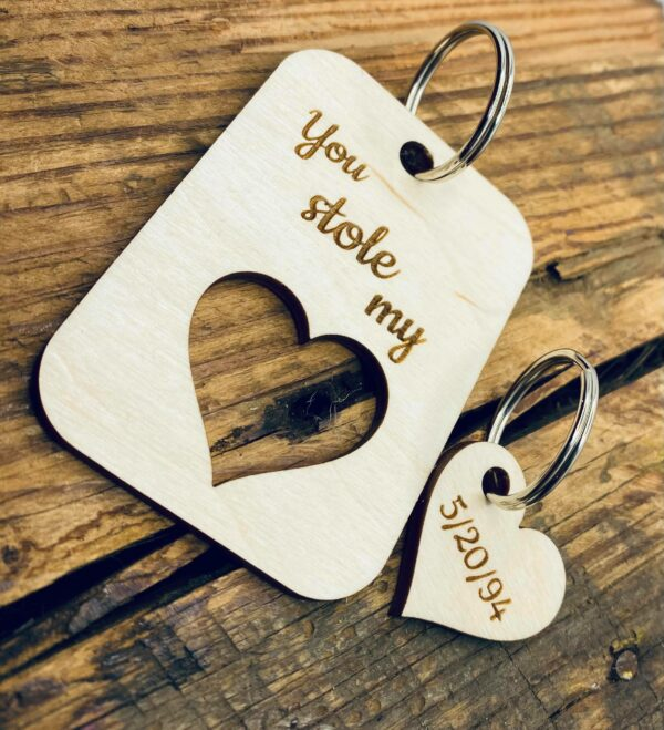 Personalized Wooden Heart Keychain